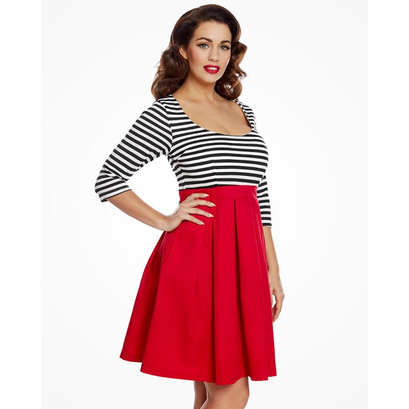 9f1c63dfc45b Námořnické šaty s červenou sukní Lindy Bop Jocelina Lindy Bop ...