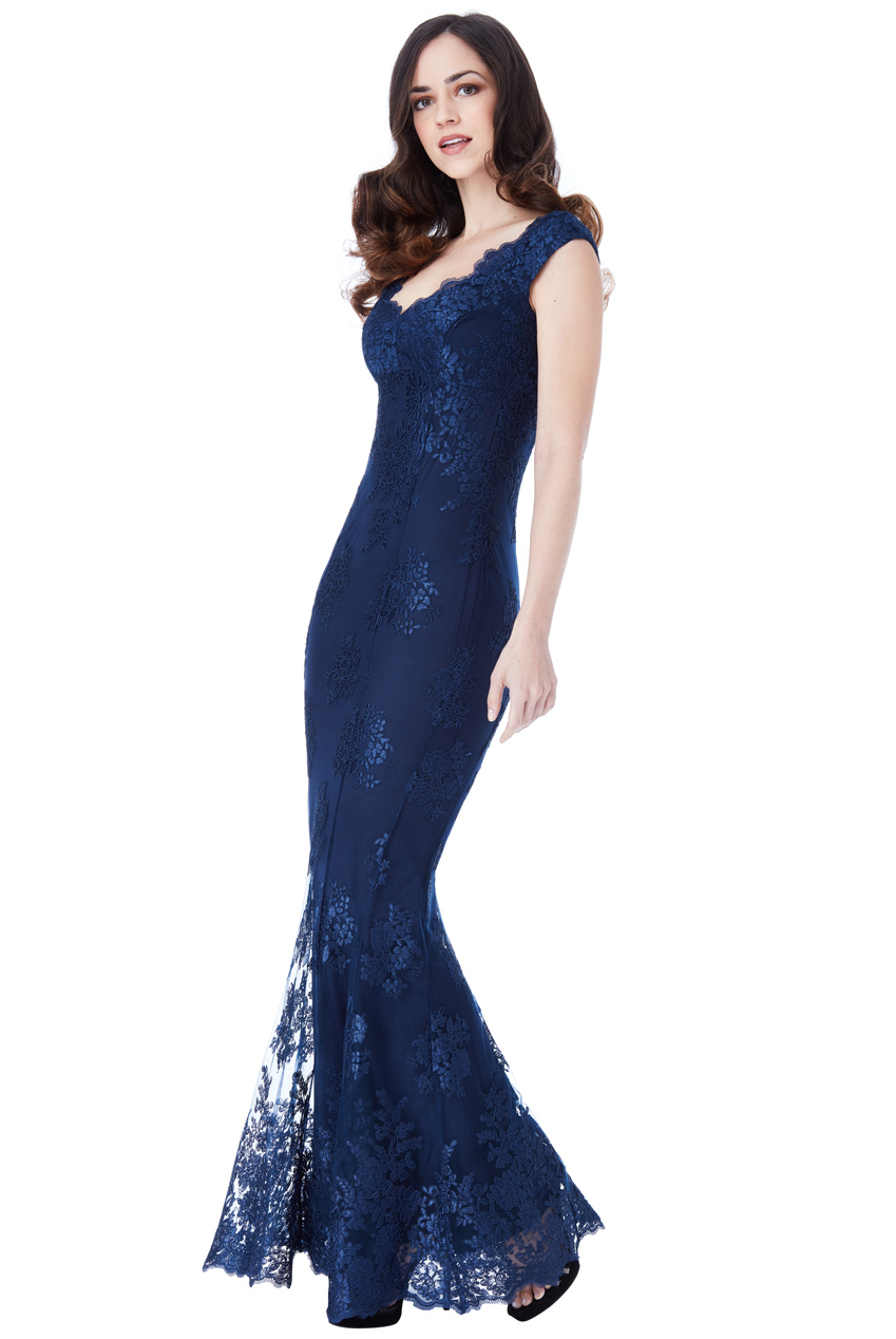 ffbd60ae185 Modré plesové šaty s krajkou City Goddess Adina