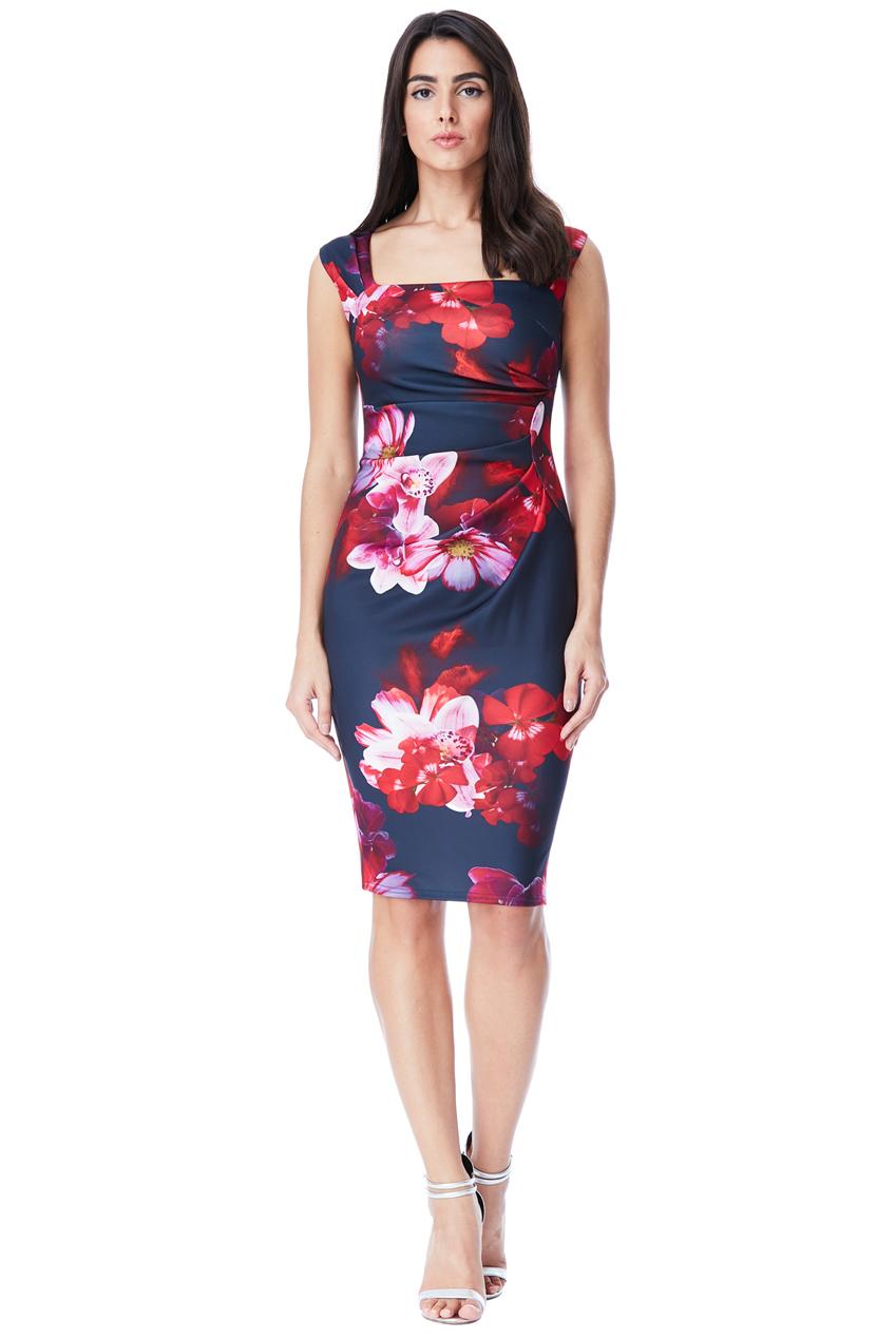 697f1f0e00e Pouzdrové šaty s květy City Goddess Astrid modré City Goddess ...