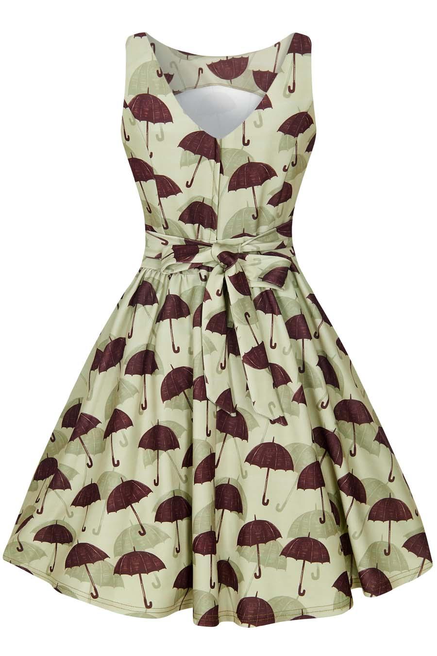 Retro šaty s deštníky Lady V London Tea úsměv v dešti Lady V London ... ab2e5cdfc6