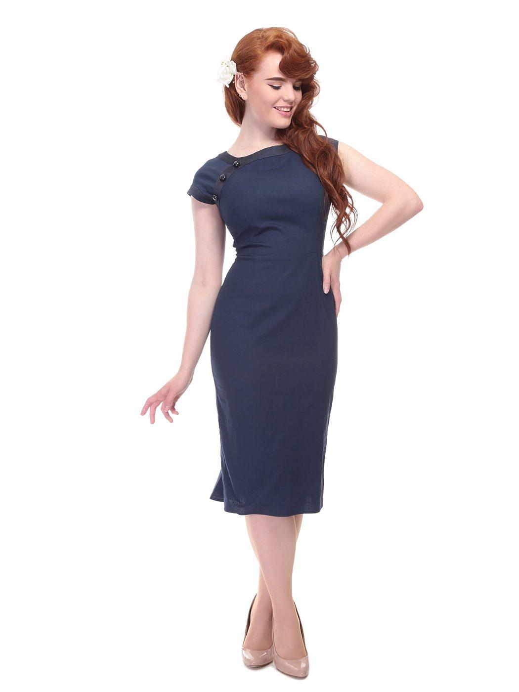 c18469502b0 Tmavě modré pouzdrové šaty Collectif Nyoko