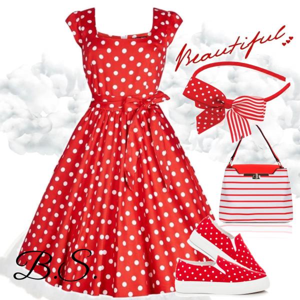 a17aa44599d1 Červené šaty s bílými puntíky Lady V London Sarah Lady V London ...