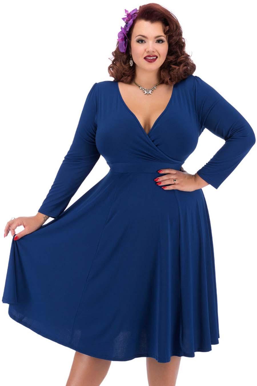 080254a1e90 Modré šaty s dlouhým rukávem Lady V London Lyra Lady V London ...