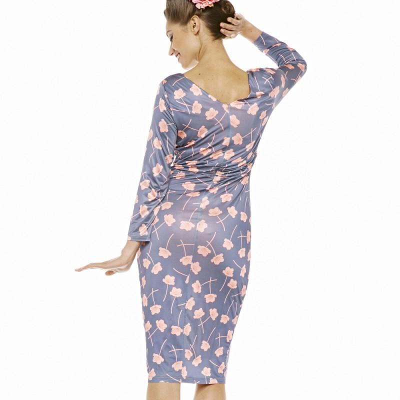 081976db626 Úzké šedé šaty s růžovými květy a dlouhým rukávem Lindy Bop Stella ...