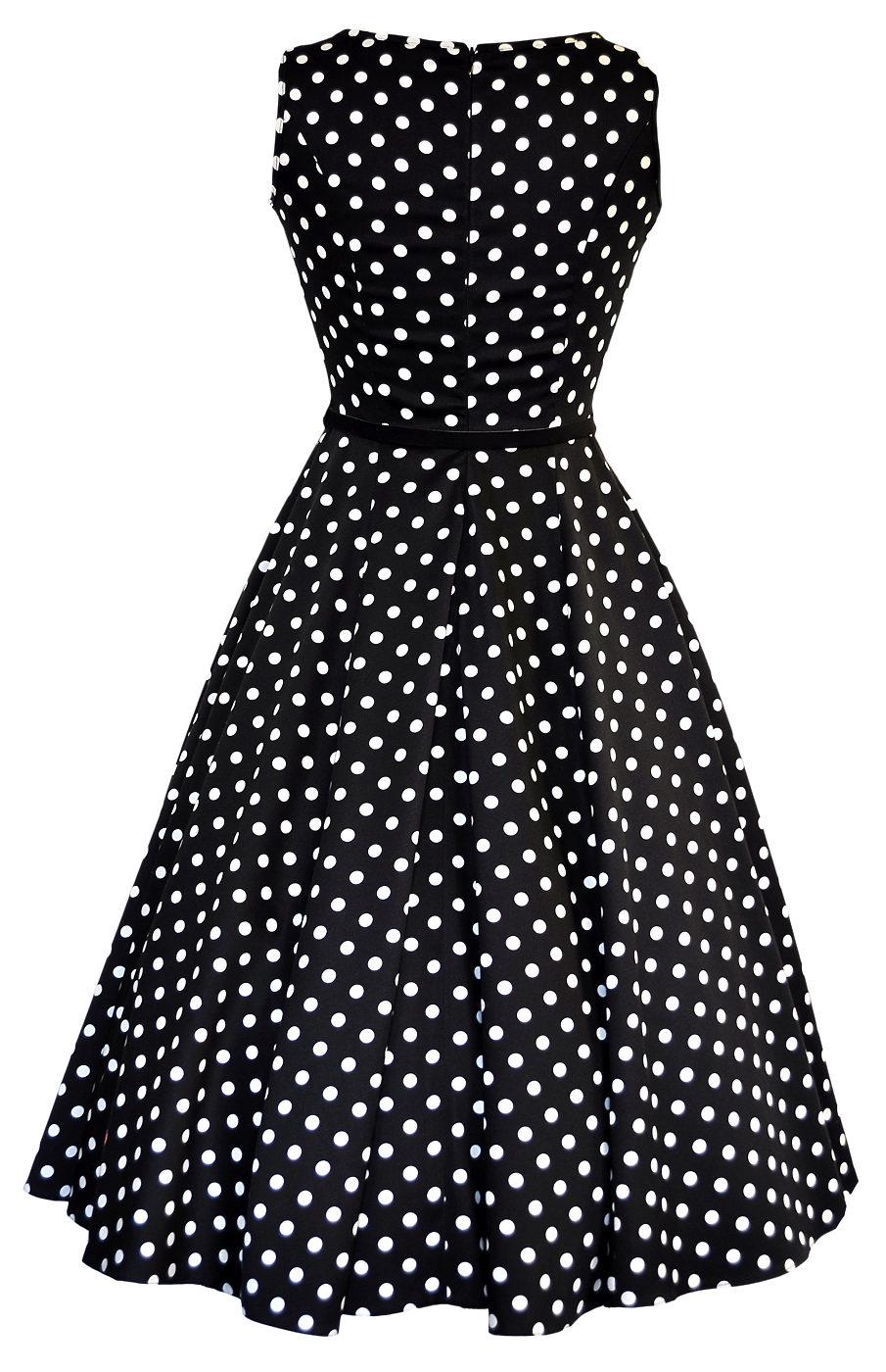 7b62fb92a Černé šaty s bílými puntíky Lady V London Audrey Lady V London ...