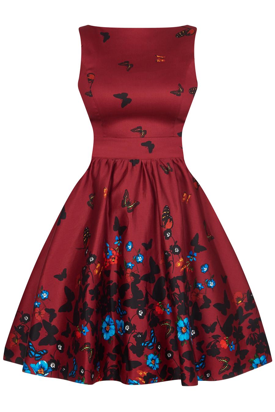 Vínové retro šaty s motýlky Lady V London Tea Lady V London  b319018404