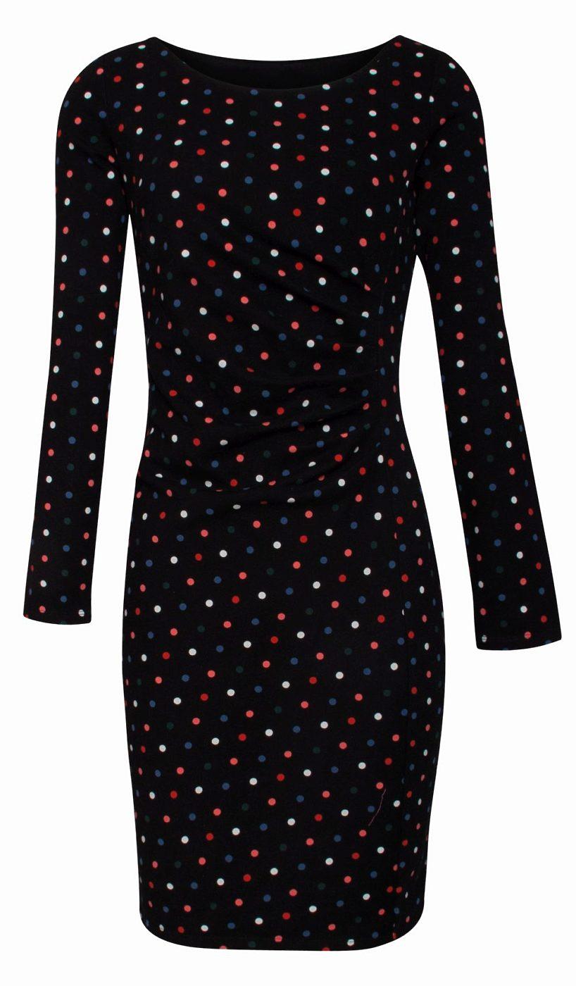 Černé pouzdrové šaty s barevnými puntíky Smashed Lemon Devi Smashed ... 21a972371c