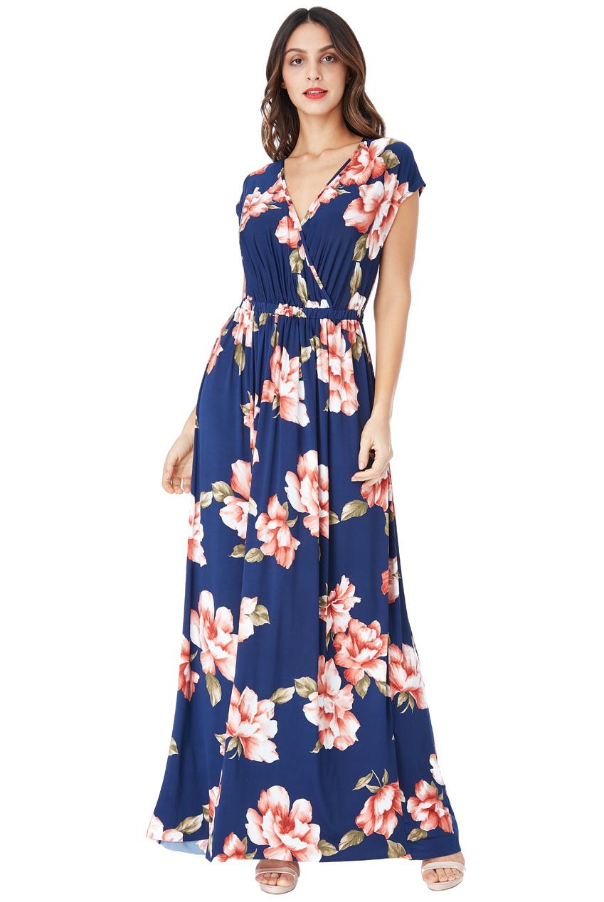 Dlouhé modré šaty s květy City Goddess March City Goddess  5fb291e7a2