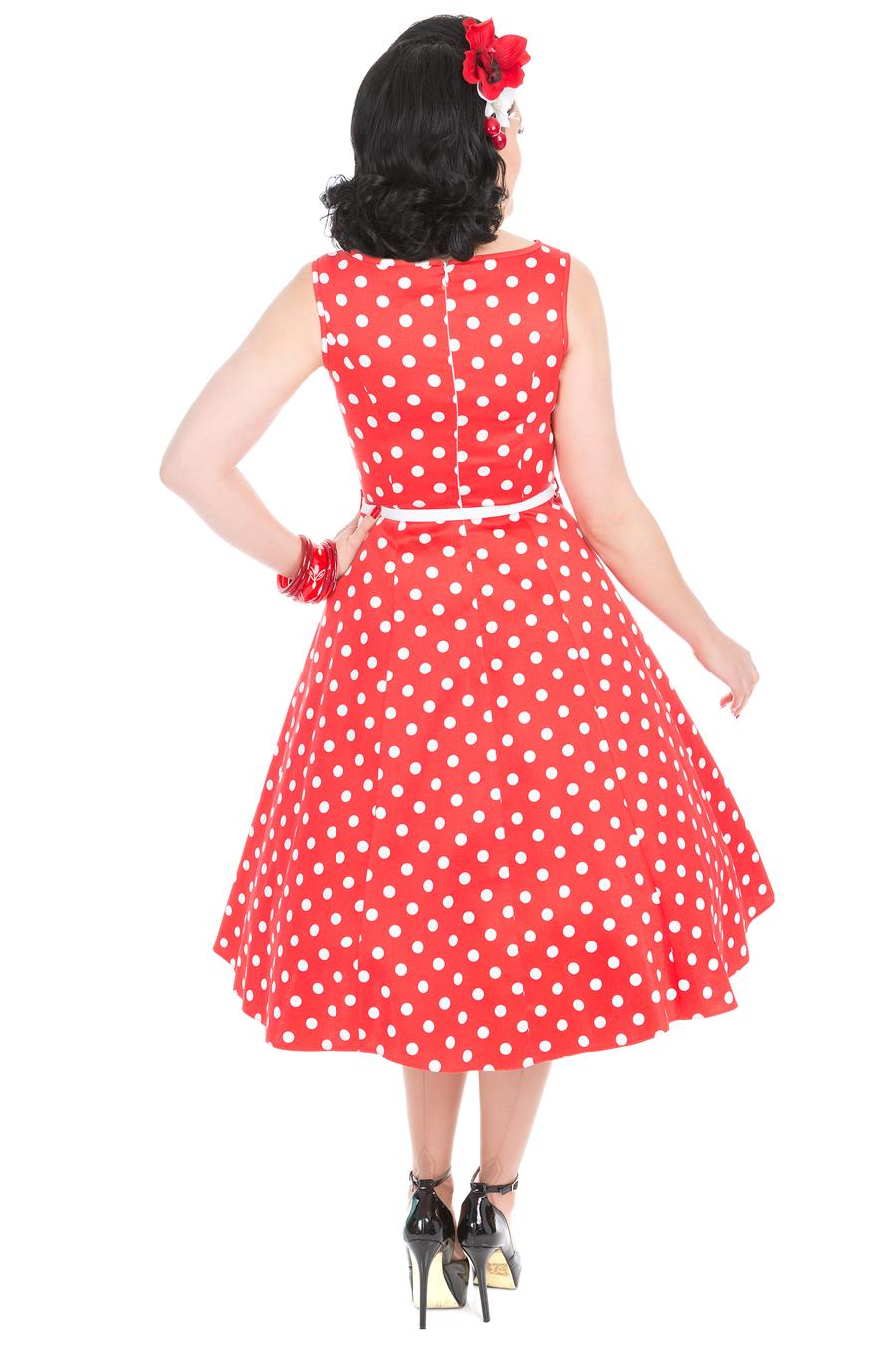 65bb7177558 Červené šaty s bílými puntíky Lady V London Audrey Lady V London ...