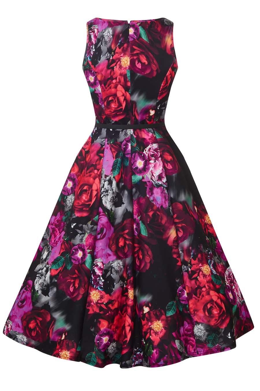 b54487fea Retro šaty s růžemi Lady V London Audrey Indigo Lady V London ...