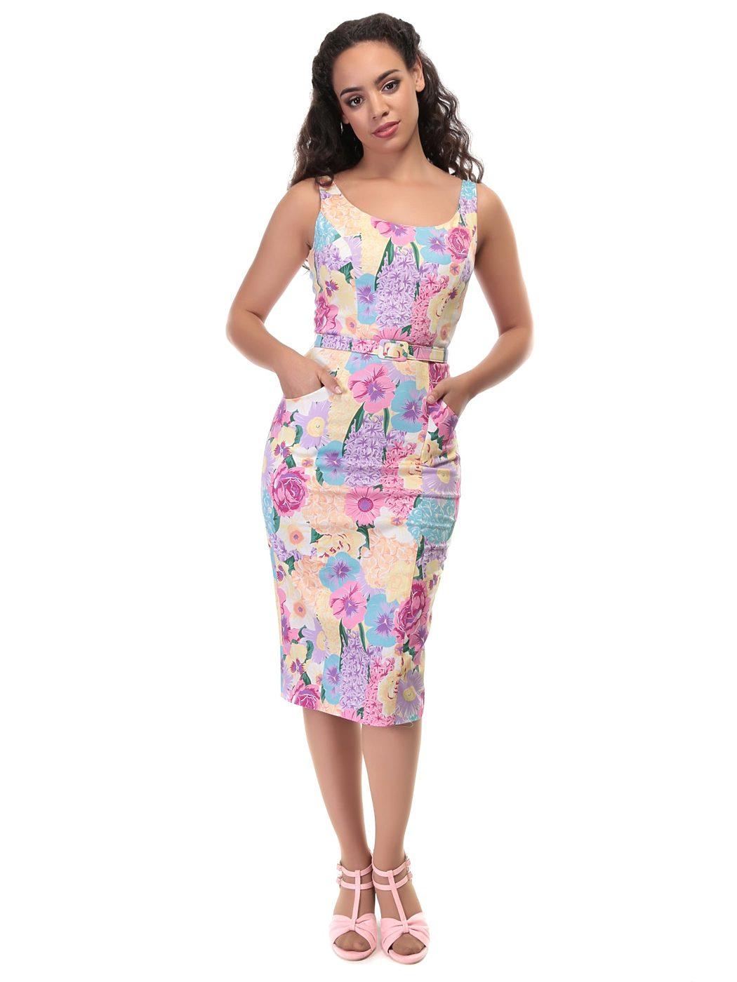 Pouzdrové květované šaty Collectif Ines Collectif  676c1246c5