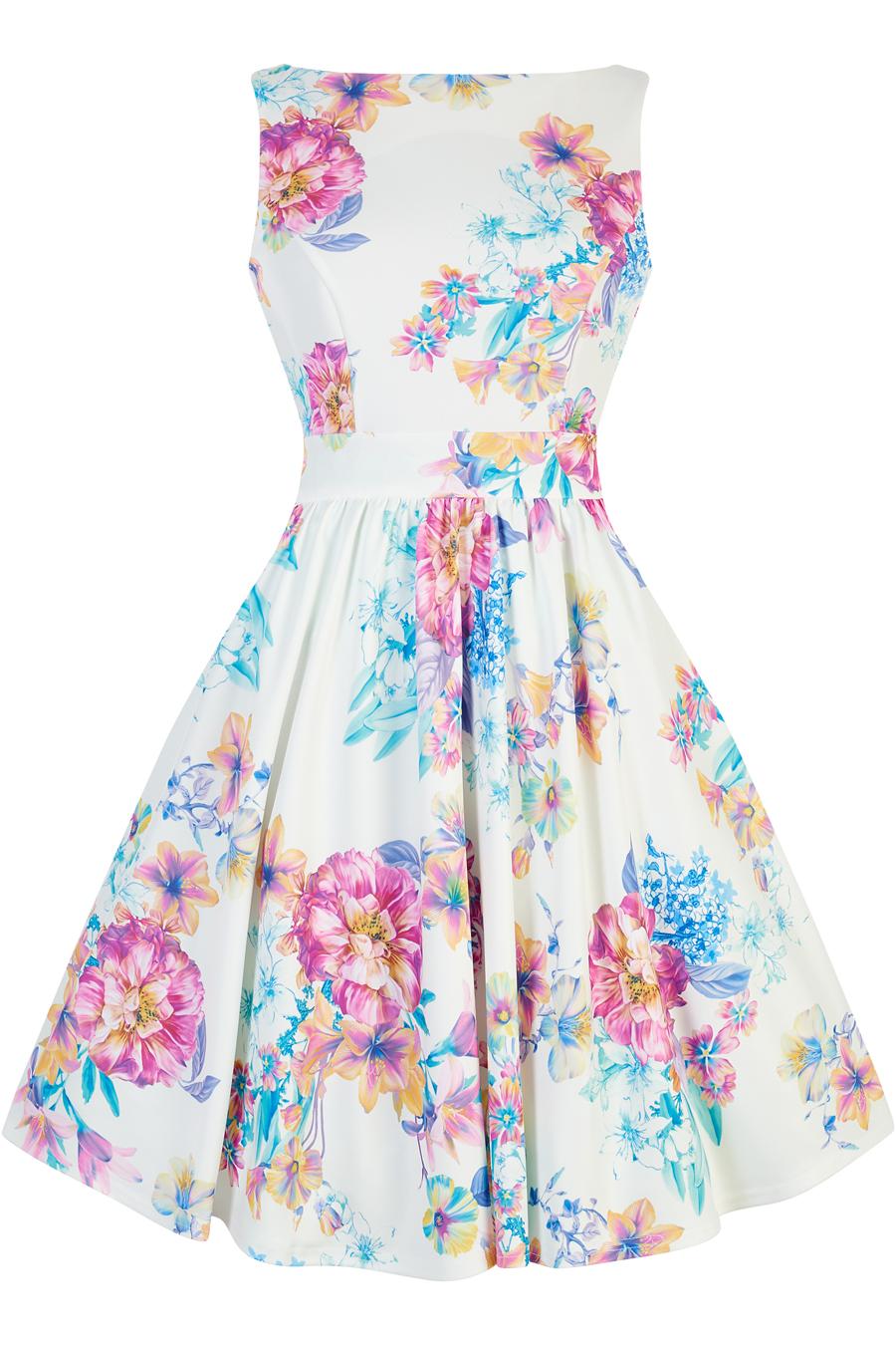 Bílé šaty s barevnými květy Lady V London Tea Lady V London  787cf5fe88