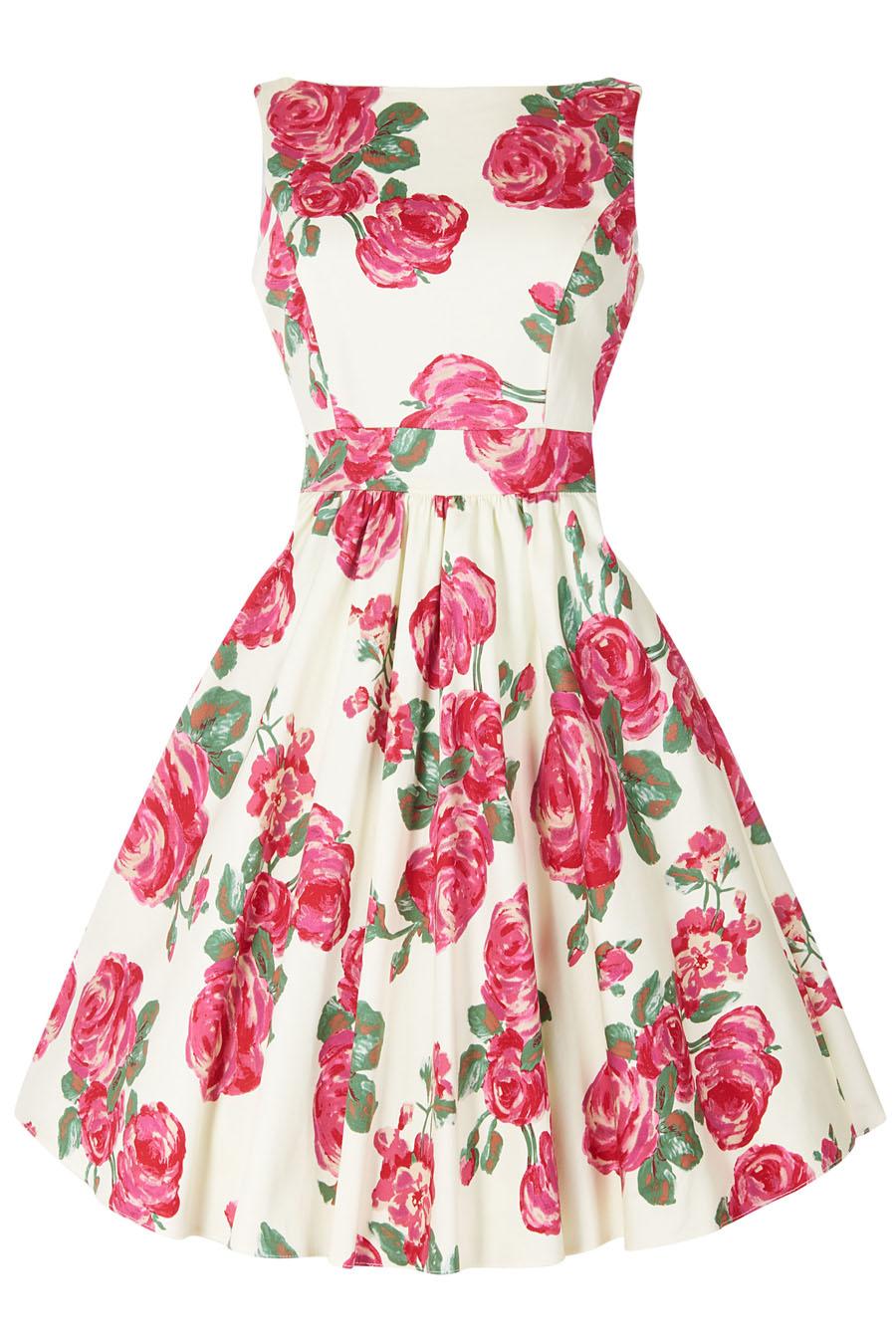 Vanilkové retro šaty s růžemi Lady V London Tea Lady V London ... 6d5b9fcea0
