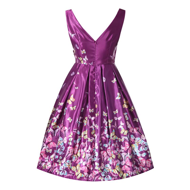 Fialové retro šaty s motýlky Lindy Bop Aurora Lindy Bop  83410d095b0