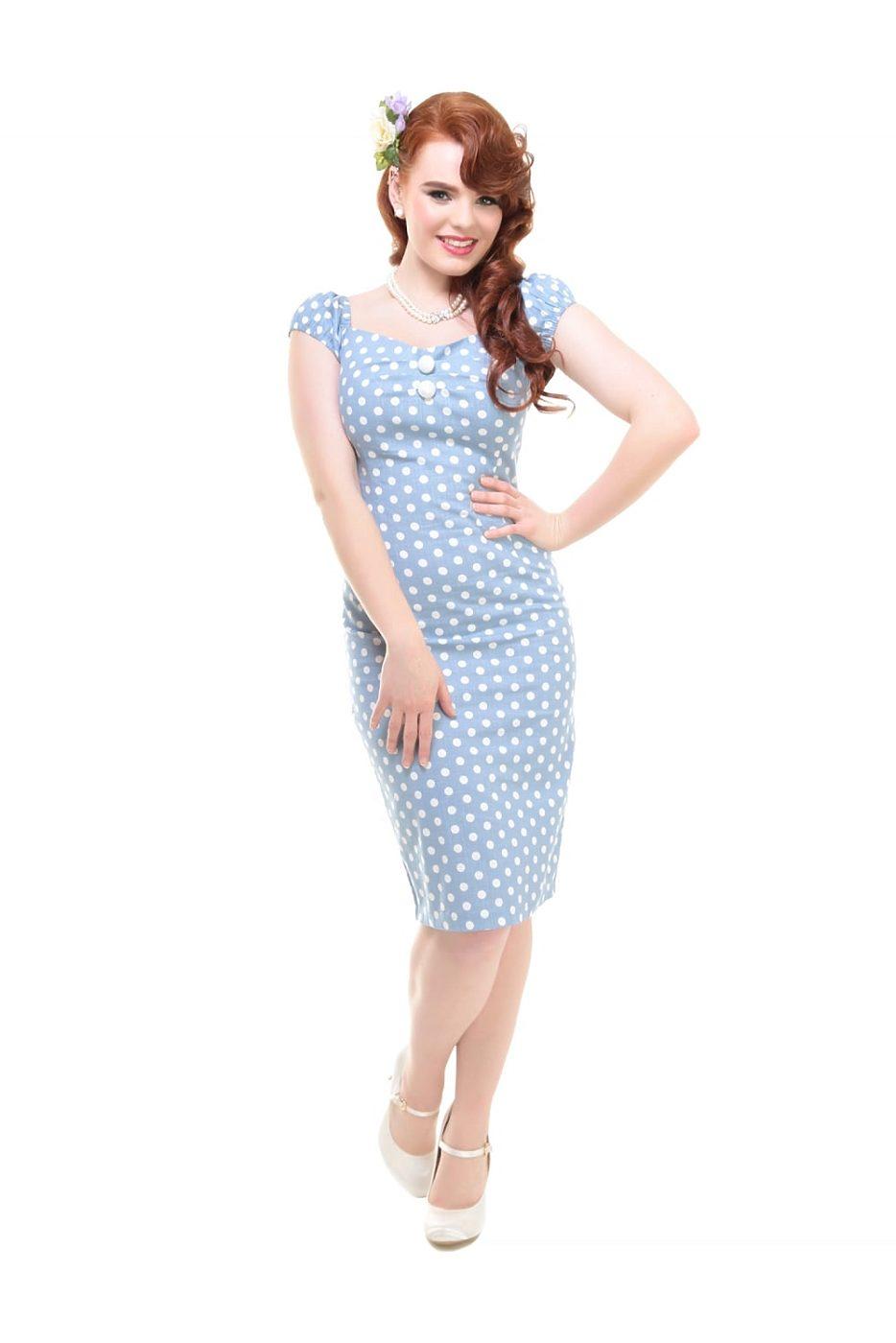 9bb0fa9dabc Světle modré šaty s puntíky Collectif Dolores
