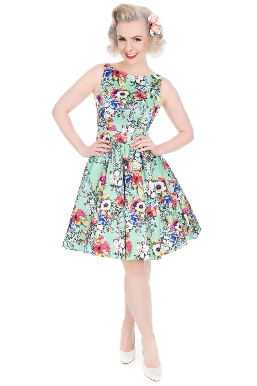 e283163fc22d Zelené šaty s barevnými květy Lady V London Tea Lady V London ...