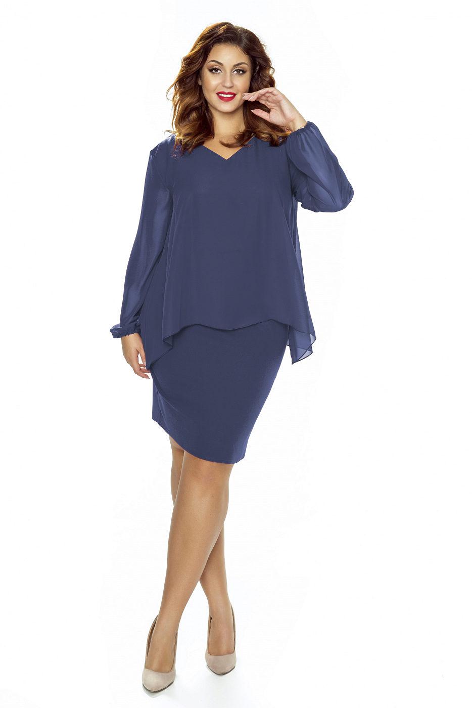 ba2987bd6bb Modré šaty s dlouhým rukávem Kartes Jackie Kartes