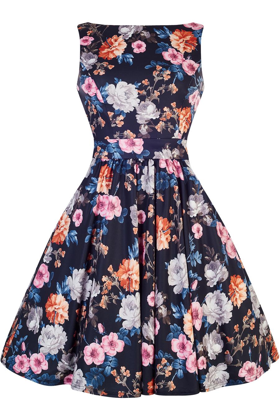 Modré retro šaty s karafiáty Lady V London Tea Lady V London ... 9b740309b6