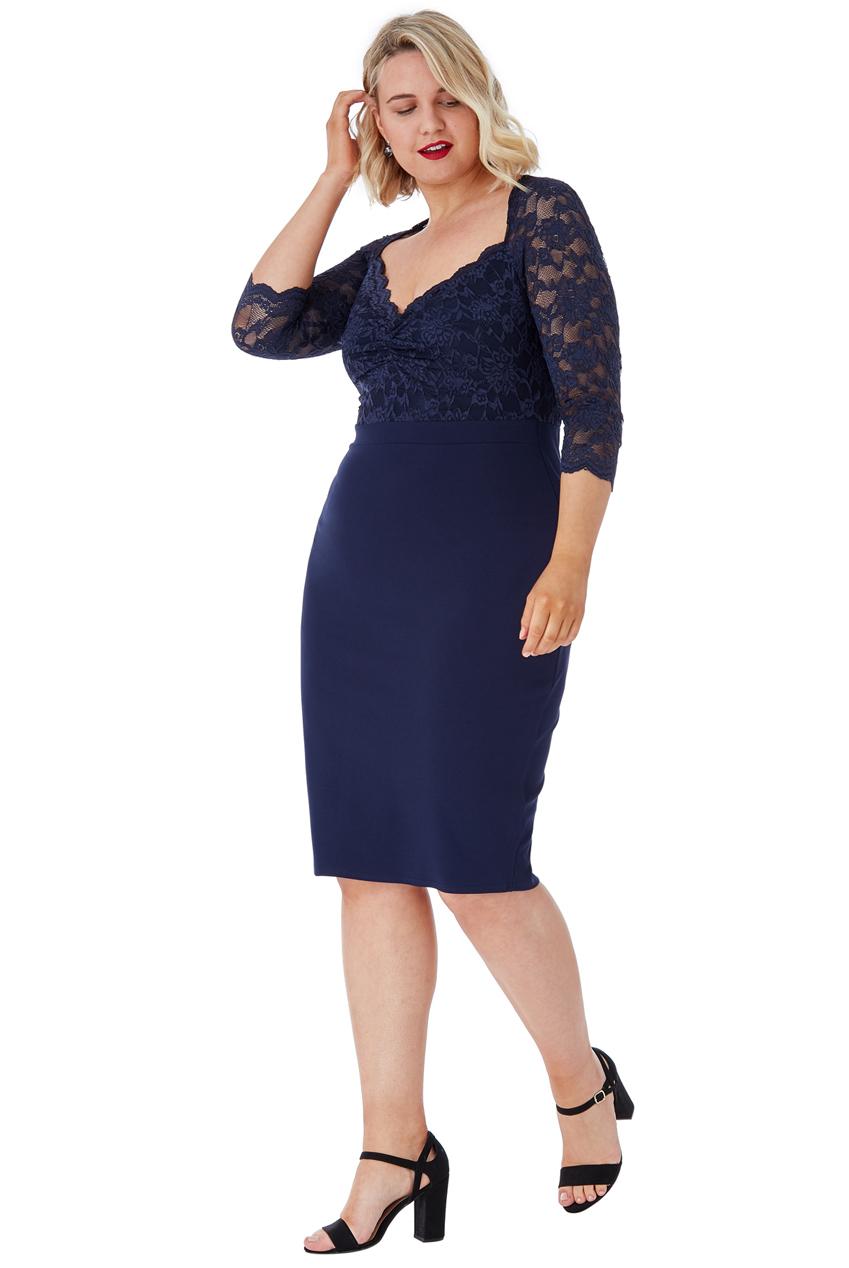 Tmavě modré pouzdrové šaty s krajkou City Goddess Nella City Goddess ... 242d654bc7