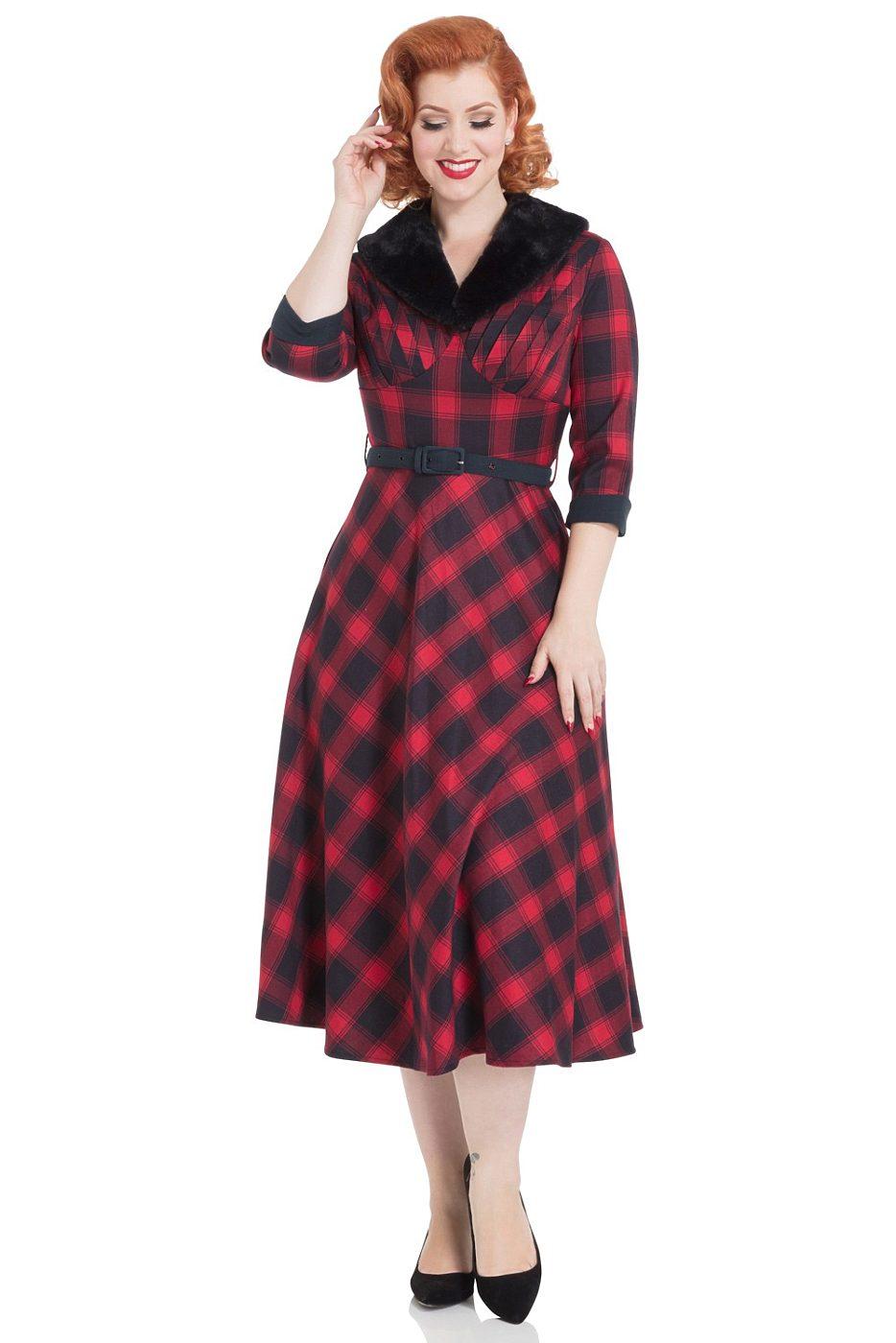 Tartanové červené šaty s kožešinovým límcem Voodoo Vixen Lola 774c78c65f