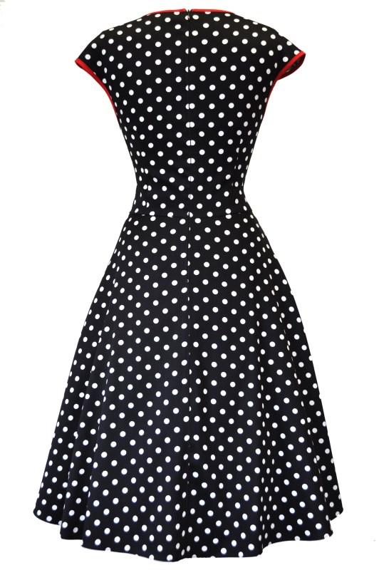 3fa5845cdeb Černé šaty s bílými puntíky Lady V London Isabella Lady V London ...