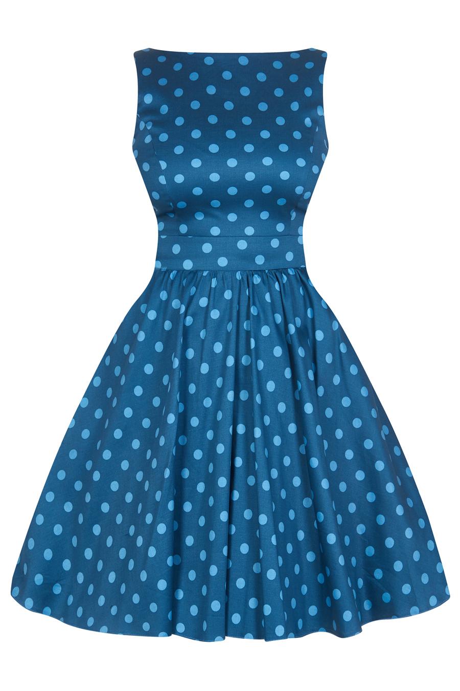 2f28195d94a Modré šaty s puntíky Lady V London Tea Lady V London