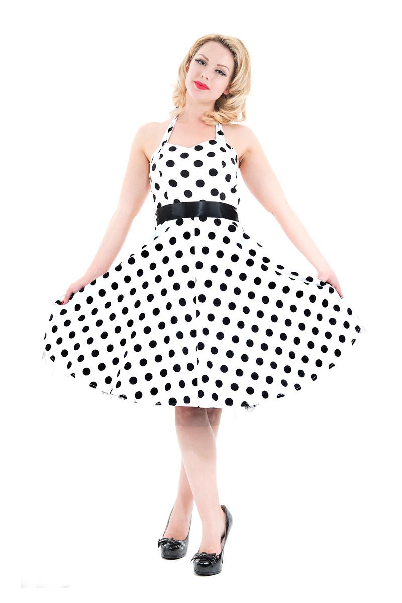 Bílé retro šaty s černými puntíky s vázáním za krk H R London Ella ... e3e989227a
