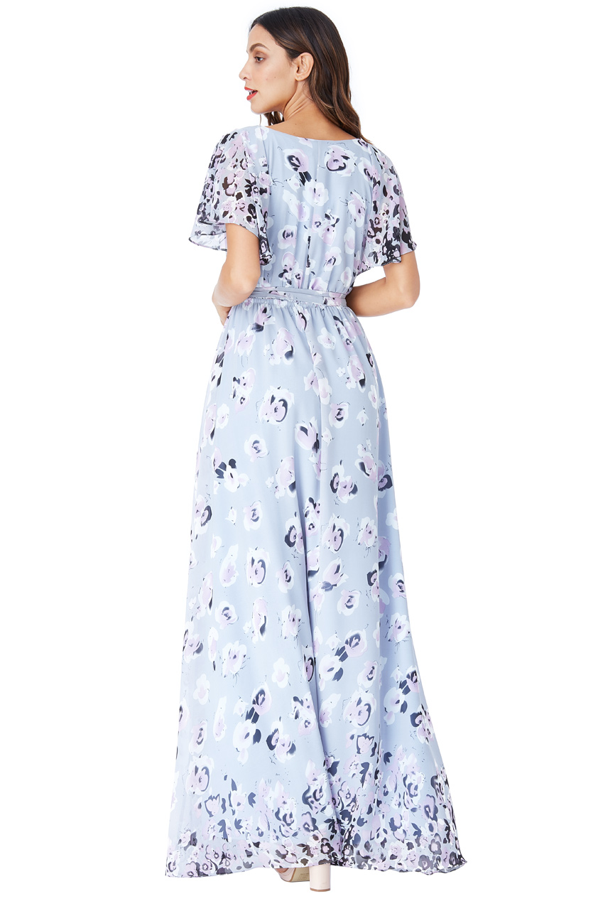 Šedé dlouhé šaty s květy City Goddess Chirine City Goddess  6c41c2da9a