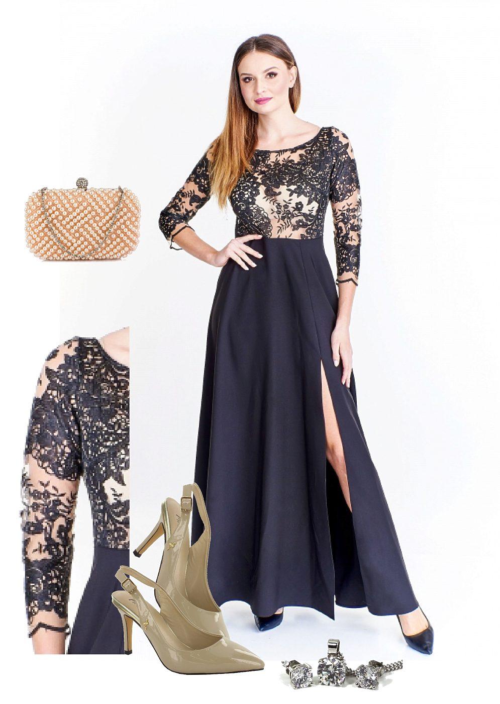 ... černé šaty s průhledným živůtkem Elit Look Adanna. Novinka. -4%  Společenské ... f36d5bca50