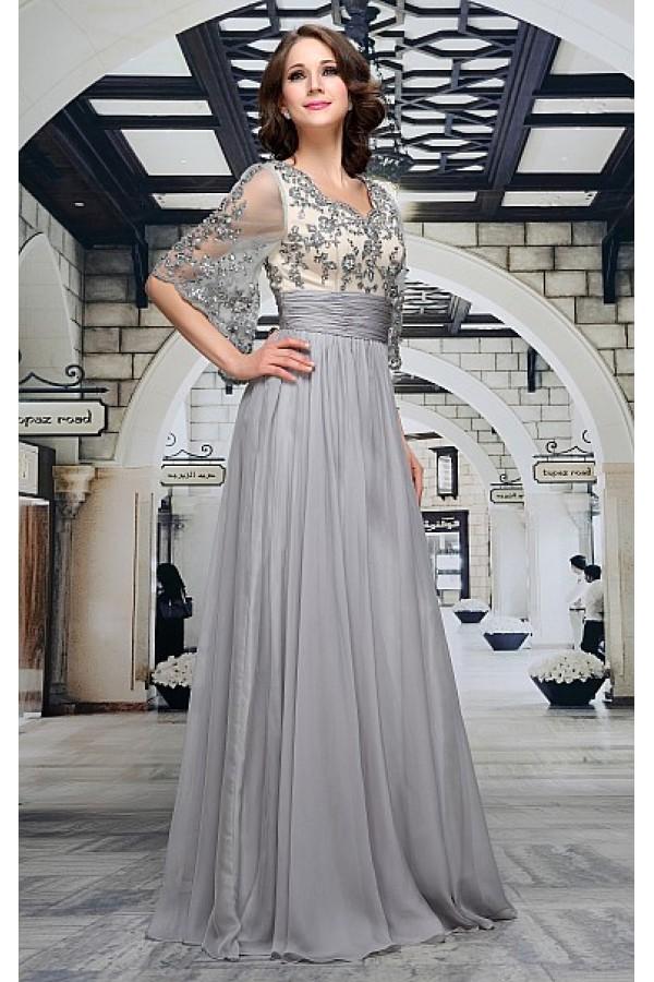 68c33b878c2 Luxusní společenské šaty v šedé barvě Decima
