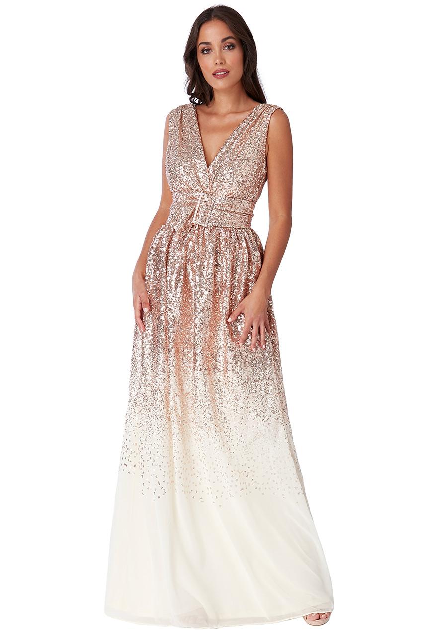 Béžové společenské šaty s flitry City Goddess Viera City Goddess ... 80b6c24920
