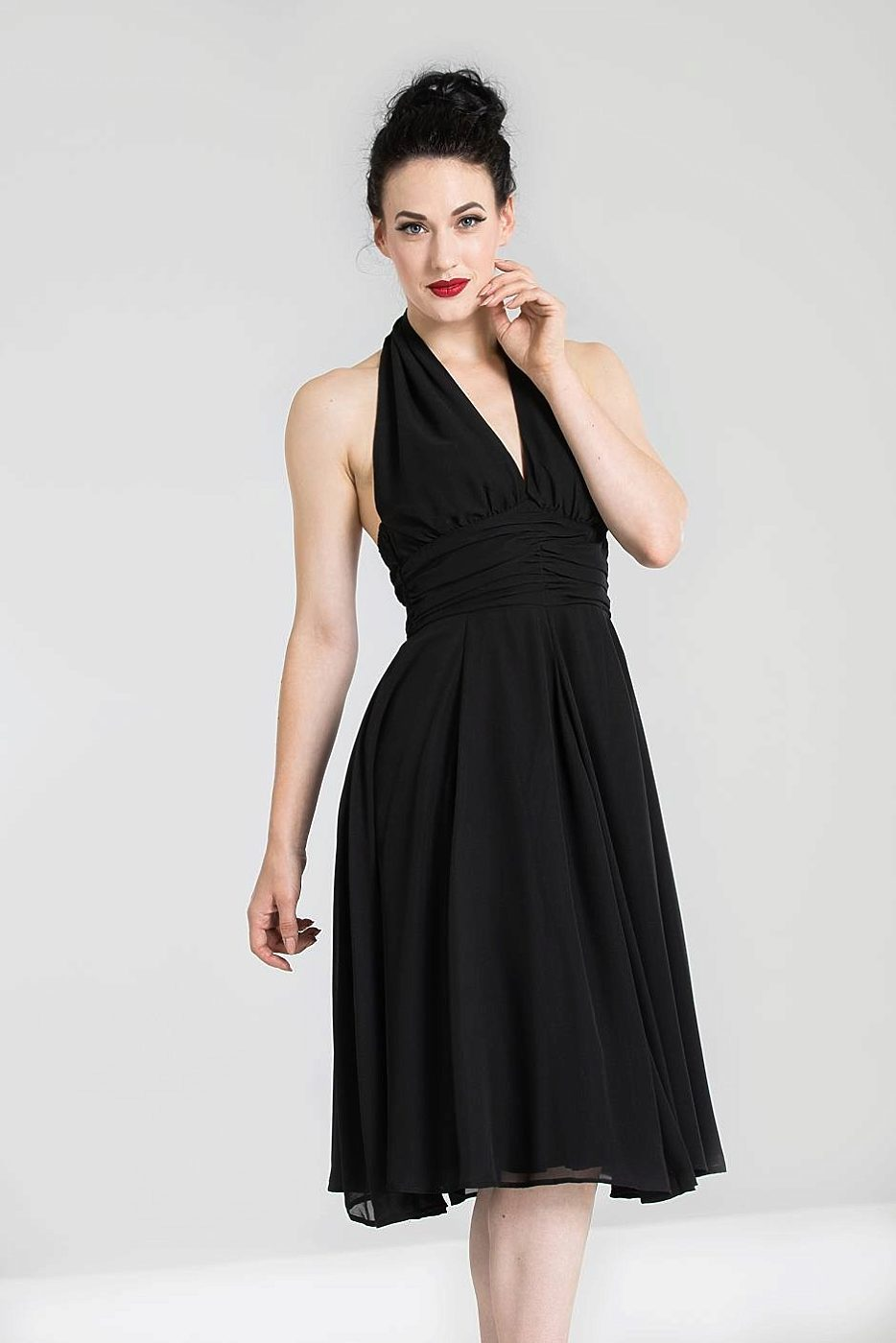 0d60f7610bf6 Černé šaty za krk Hell Bunny Monroe Hell Bunny