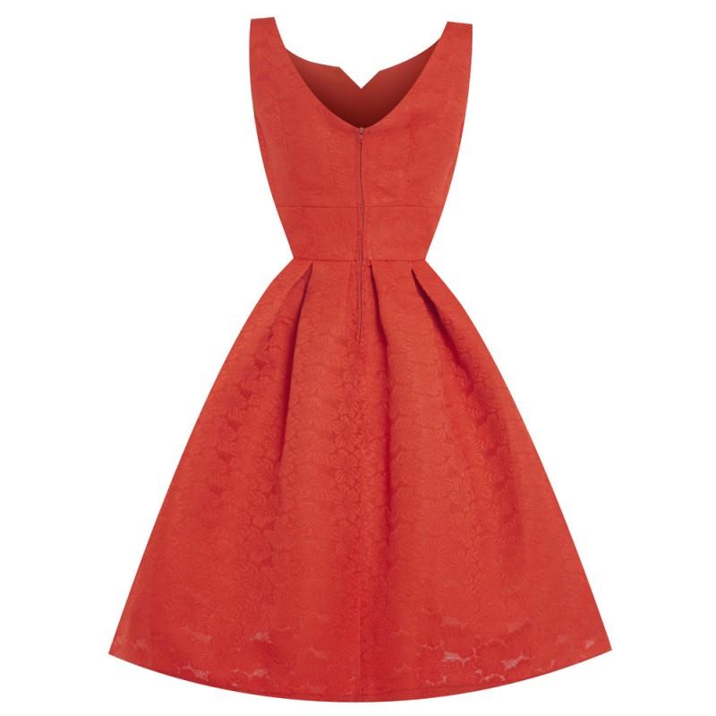 Červené brokátové šaty Lindy Bop Felicia. A1277. Litujeme c2c7b9a4a4