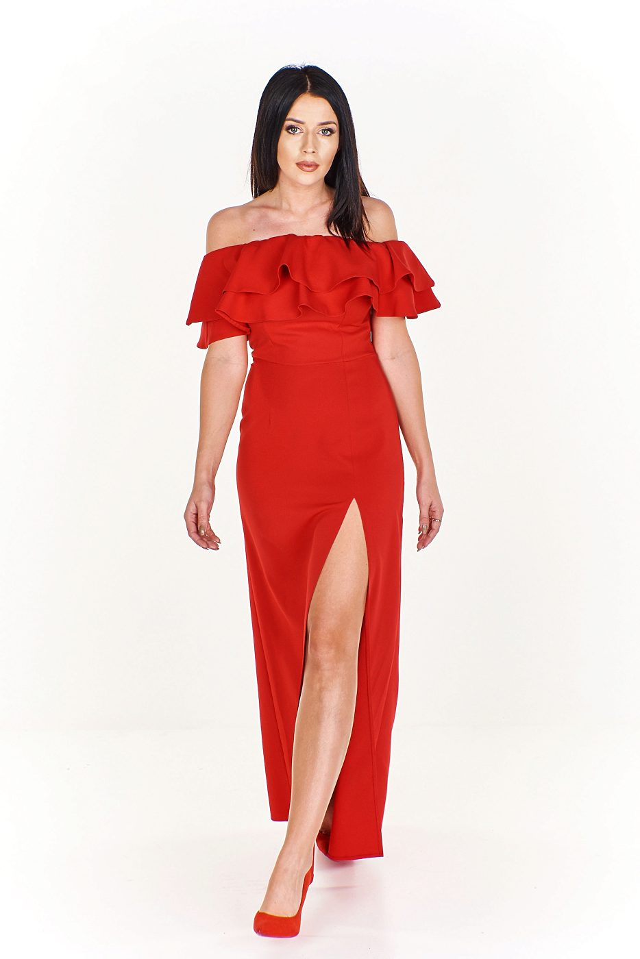 Dlouhé červené šaty s volánem Katniss Kora Katniss  cb7e68c561