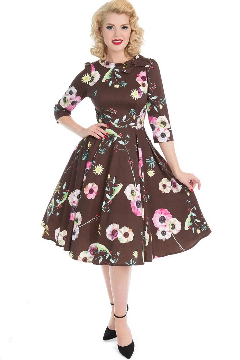 dfd04ff05f5b Hnědé šaty s máky Hearts Roses Poppy Hearts   Roses London