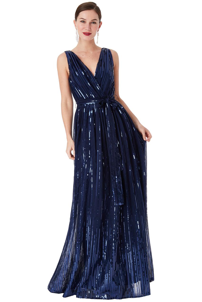 Modré společenské šaty s flitry City Goddess Afrodita City Goddess ... f9c75a68e0