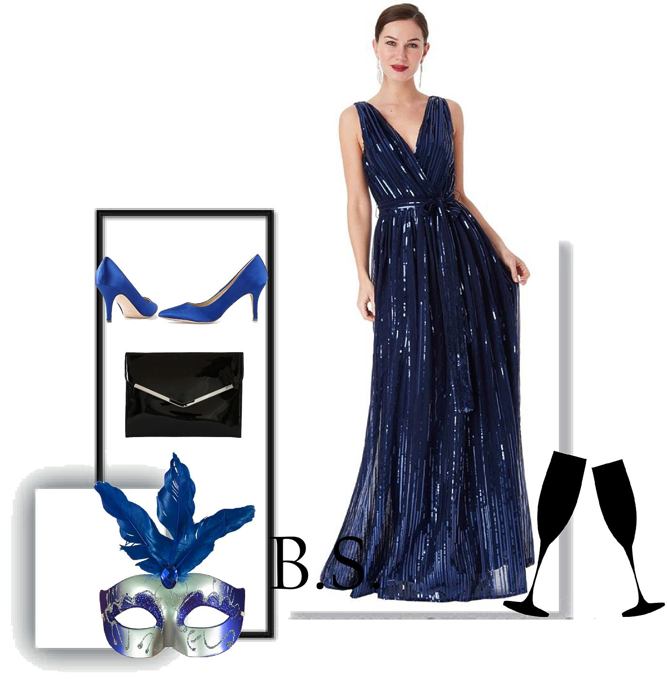 75a2583adb1 Modré společenské šaty s flitry City Goddess Afrodita City Goddess ...
