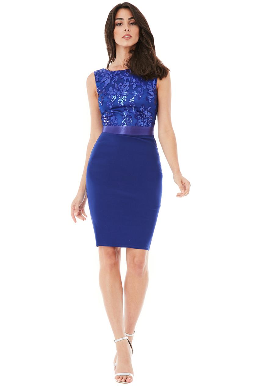 c40b9c3409f4 Pouzdrové společenské šaty City Goddess Star modré
