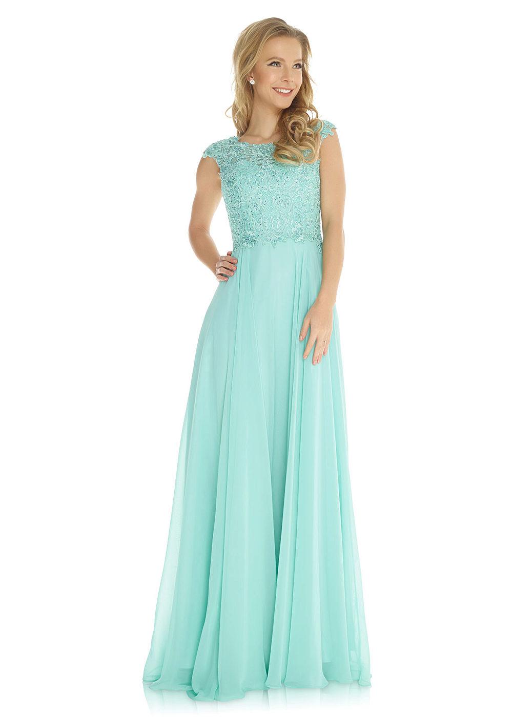 1db7c75cf96 Společenské světle zelené šaty s vyšívaným živůtkem Jora Akira Jora ...