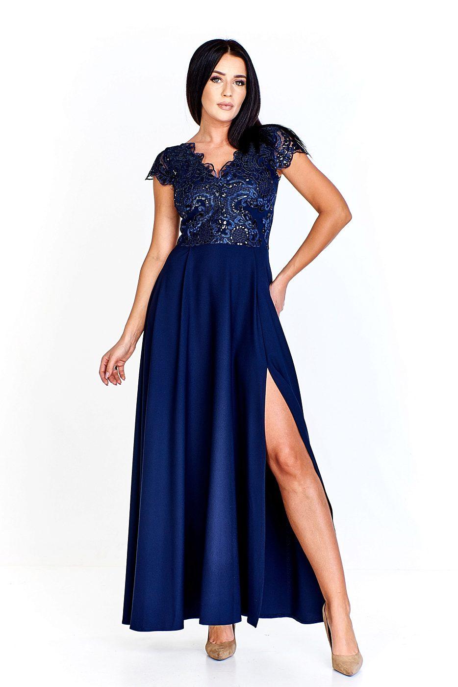 9056cd5df724 Modré společenské šaty s rozparkem Bosca Fashion Laura Bosca Fashion ...