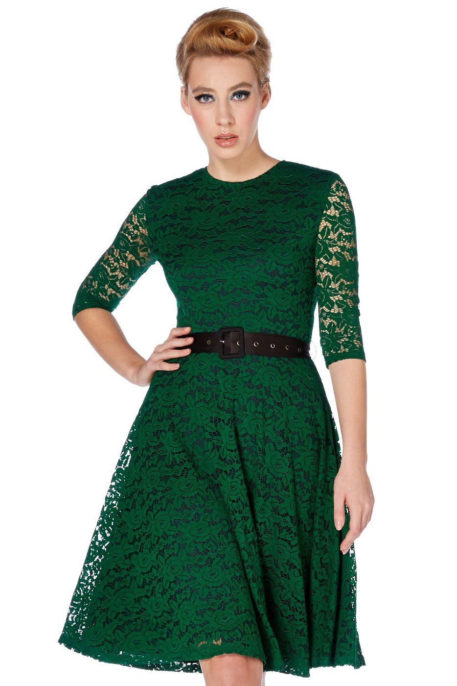 61a7ebf02caa Zelené krajkové šaty Voodoo Vixen Patricia Voodoo Vixen