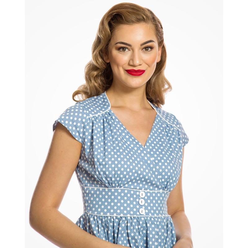 Světle modré šaty s bílými puntíky Lindy Bop Polly Lindy Bop ... 4930332ddc