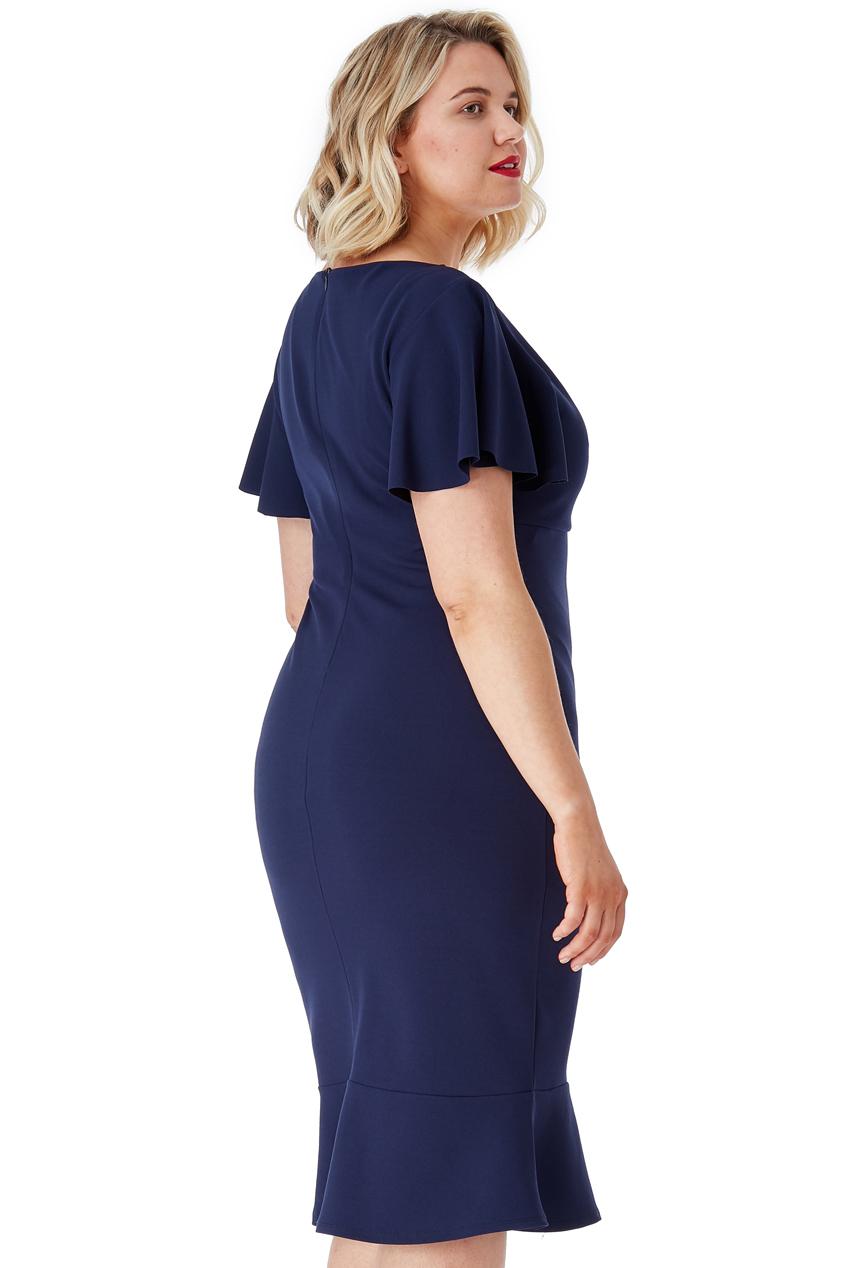 Tmavě modré pouzdrové šaty s volánem City Goddess Leona City Goddess ... 59926217dd