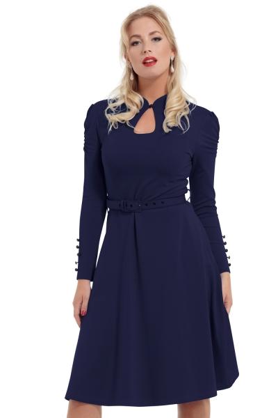 af206e4de4c Šaty Jednobarevné šaty Tmavě modré šaty s dlouhým rukávem Voodoo Vixen  Dita. Novinka