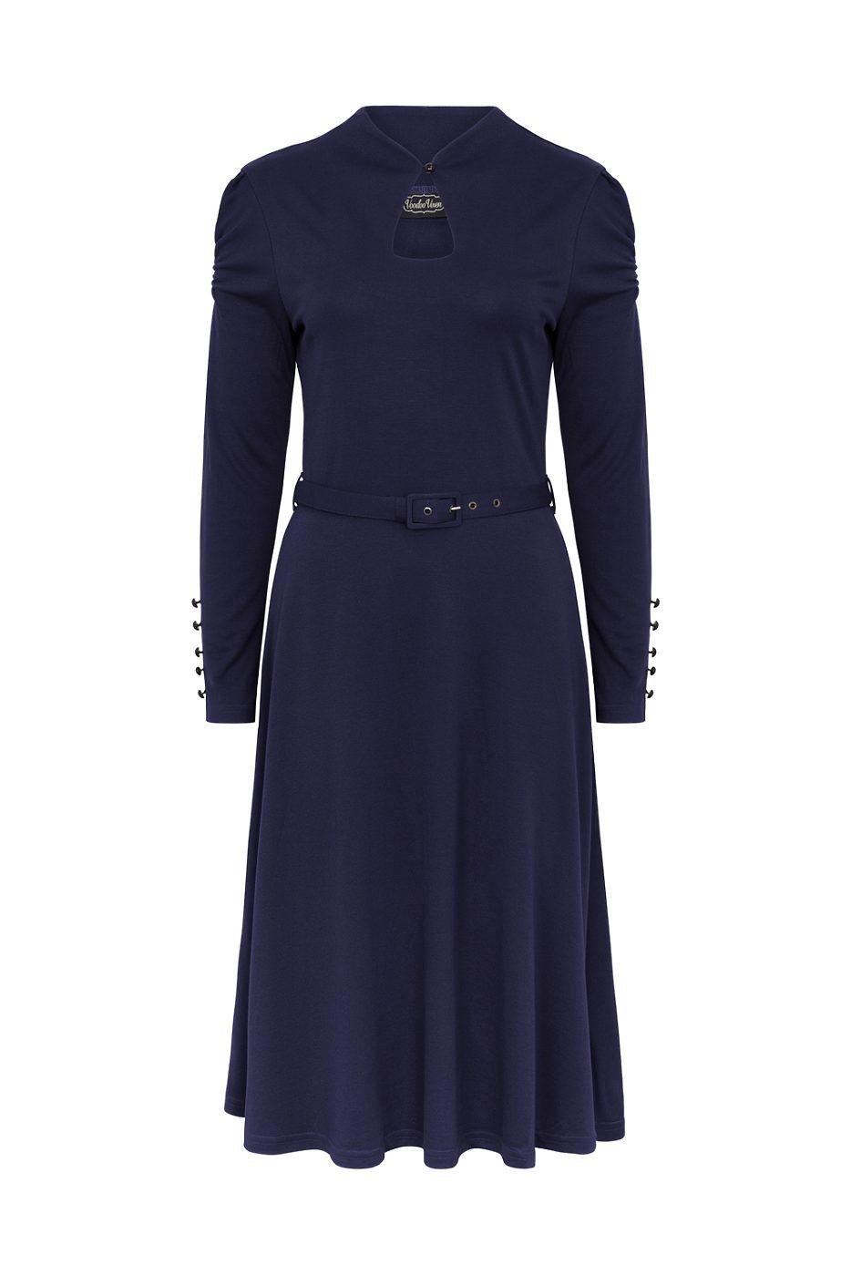 ab2842b6c81 Šaty Jednobarevné šaty Tmavě modré šaty s dlouhým rukávem Voodoo Vixen Dita.  Novinka