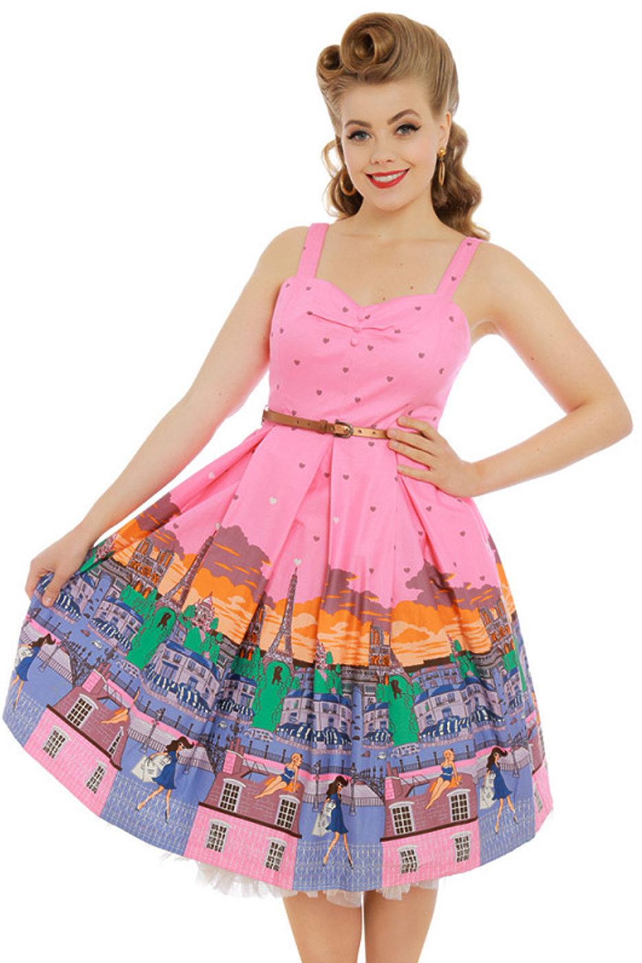49c8a4648a91 Růžové šaty s motivem Paříže Lindy Bop Bernice Lindy Bop