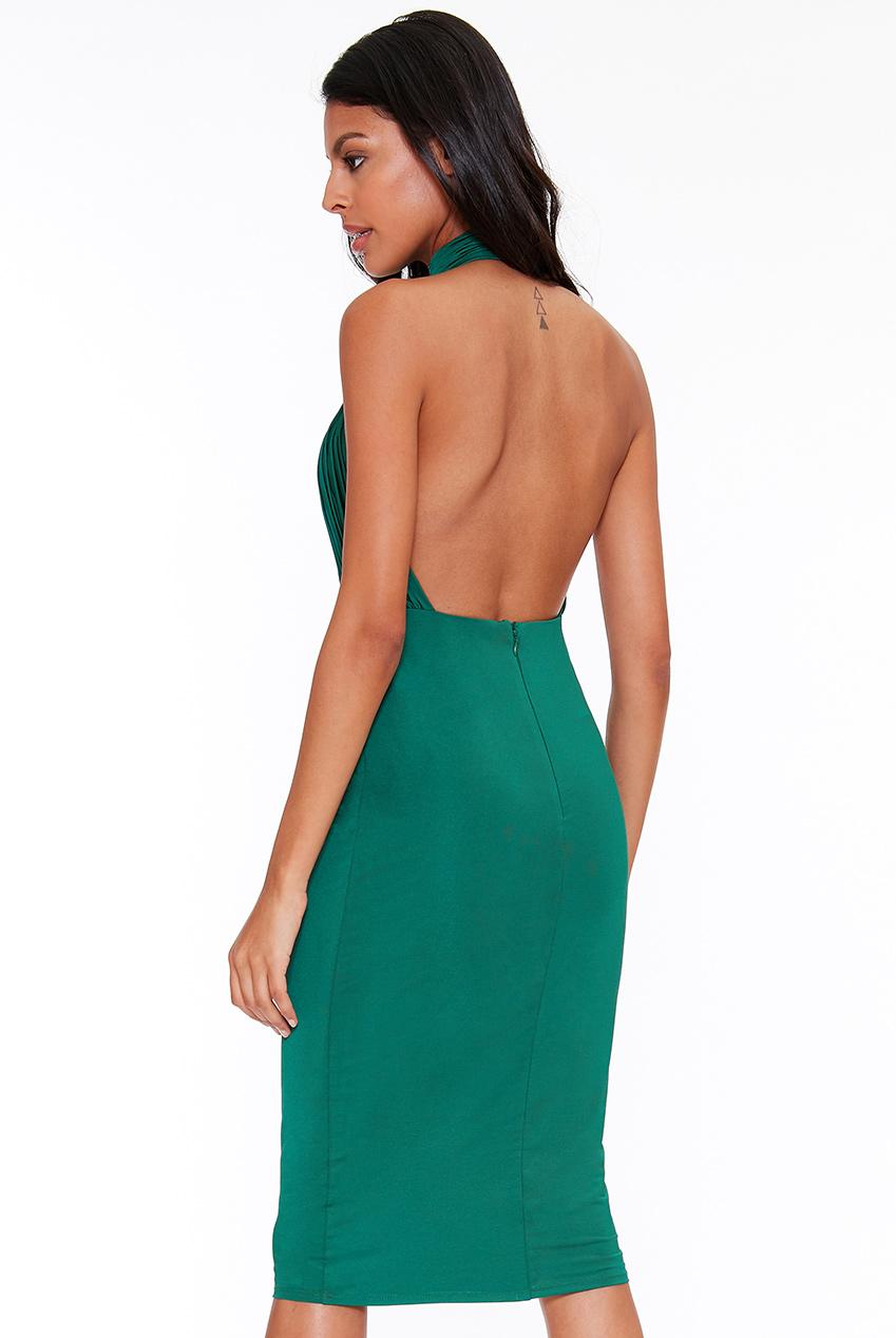 bb606786342 Zelené šaty s volnými zády City Goddes Rita City Goddess