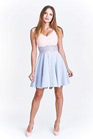 Společenské růžovo šedivé šaty Vegas Fedosia 7564fa5b27