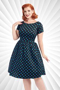 77bfec2860c3 Černé šaty s tyrkysovými puntíky Lady V London Eloise
