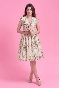 fcf0fe747544 Krémové šaty s drobnými květy Lady V London Eva